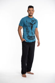 Mens Muay Thai Flying Knee T-Shirt in Denim Blue