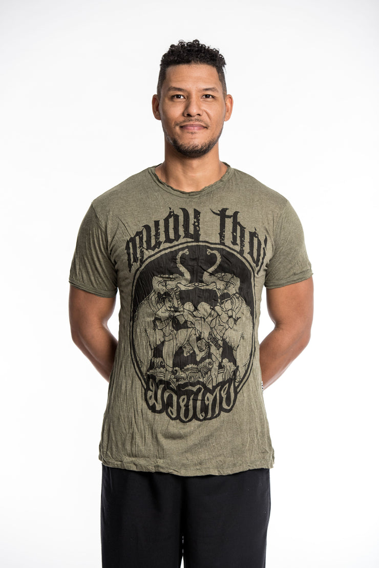 Mens Muay Thai Fighting T-Shirt in Green