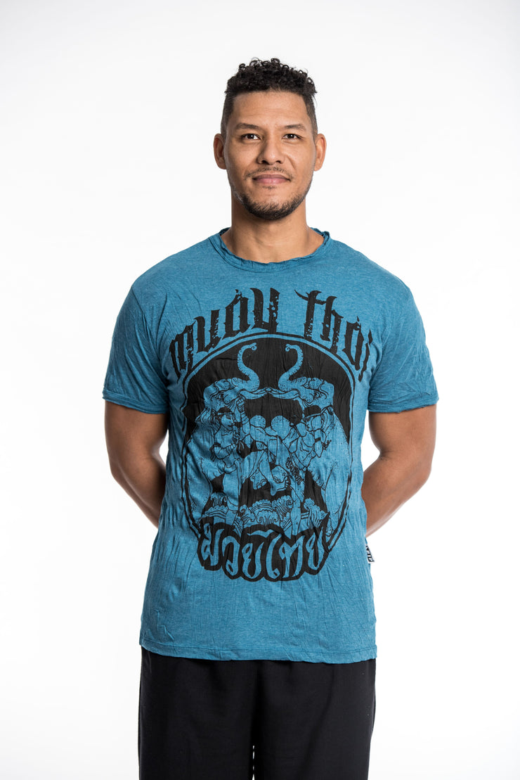 Mens Muay Thai Fighting T-Shirt in Denim Blue