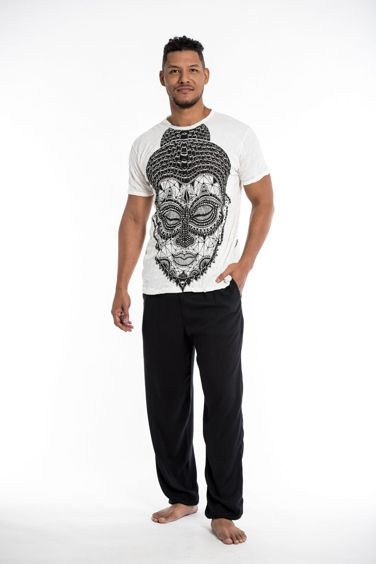 Mens Buddha Head T-Shirt in White