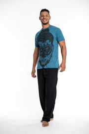 Mens Buddha Head T-Shirt in Denim Blue