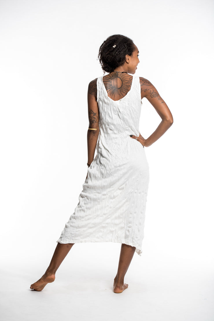 Womens Solid Color Long Tank Dress in White