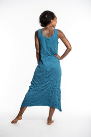 Womens Solid Color Long Tank Dress in Denim Blue