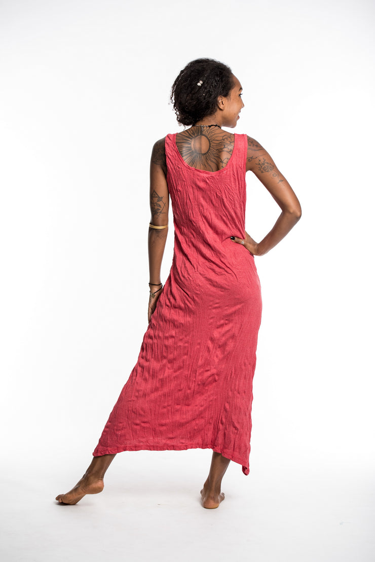Womens Solid Color Long Tank Dress in Red