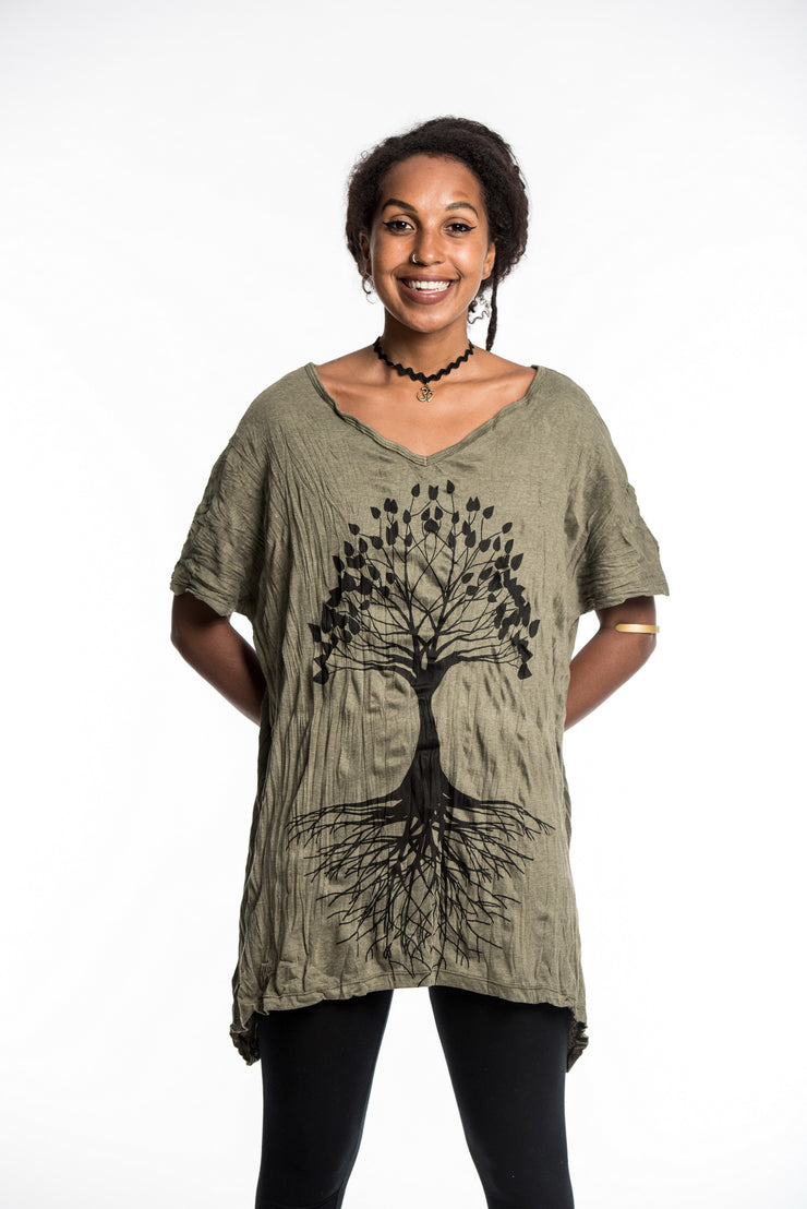 Womens Tree of Life Loose V Neck T-Shirt in Green