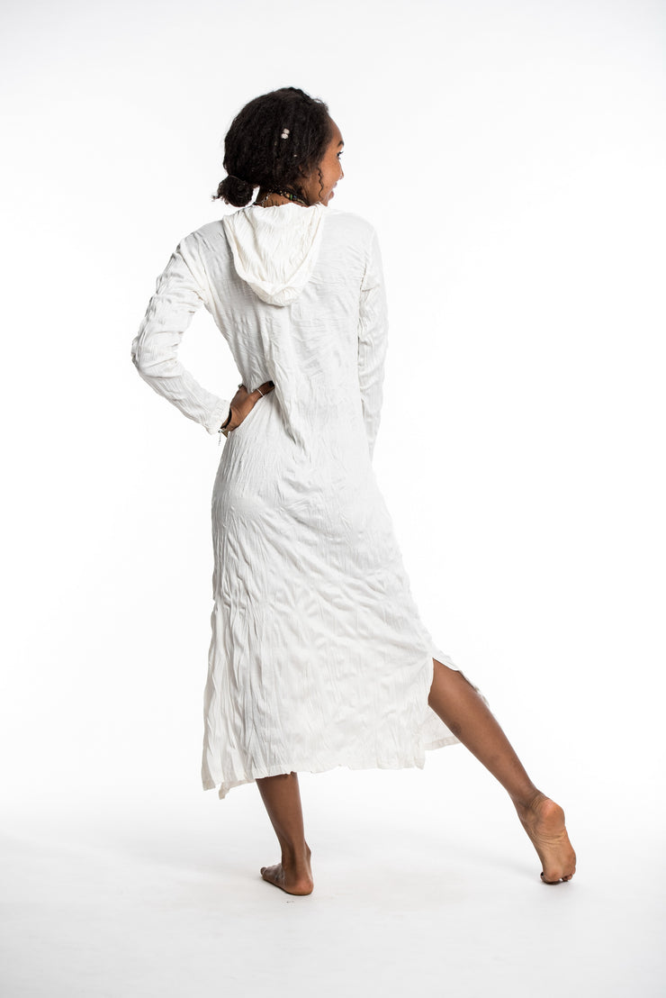 Womens Solid Color Long Hoodie Dress in White