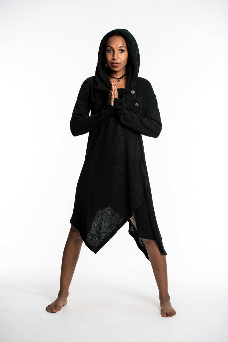 Hooded Pixie Sweater Dress in Black
