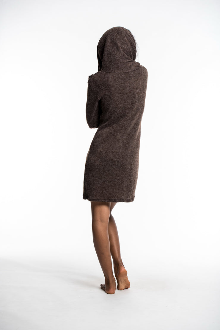 Shawl Hoodie Combo Sweater Dress in Brown