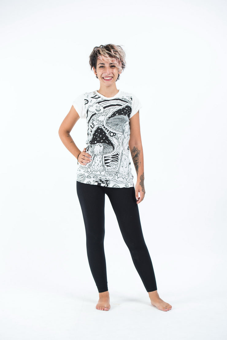 Womens Magic Mushroom T-Shirt in White
