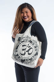 Infinitee Om Reversible Cotton Tote Bag in White