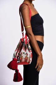 Tribal Bucket Bag in Red