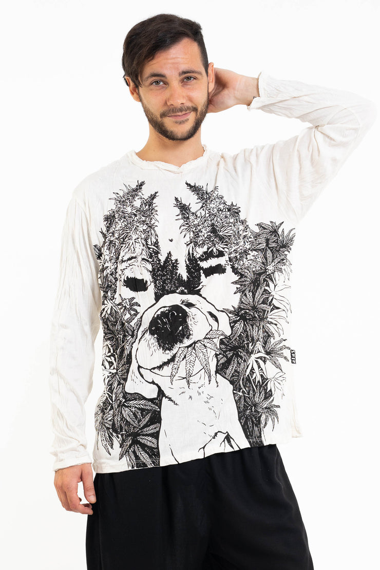 Unisex Happy Dog Long Sleeve T-Shirt in White