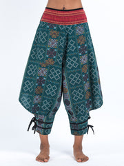 Clovers Thai Hill Tribe Fabric Harem Pants with Ankle Straps in Green