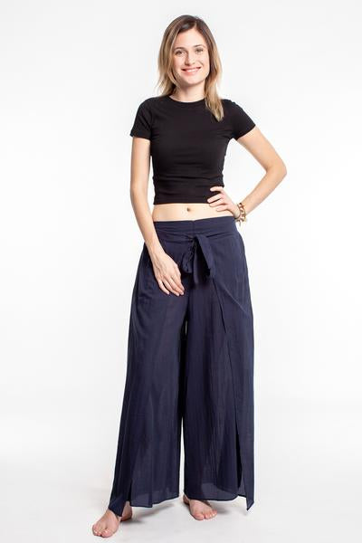 Womens Solid Color Wrap Palazzo Pants in Navy