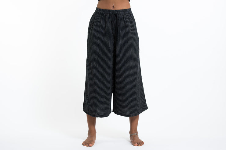Womens Solid Color Crinkled Cropped Wide Leg Pants in Black