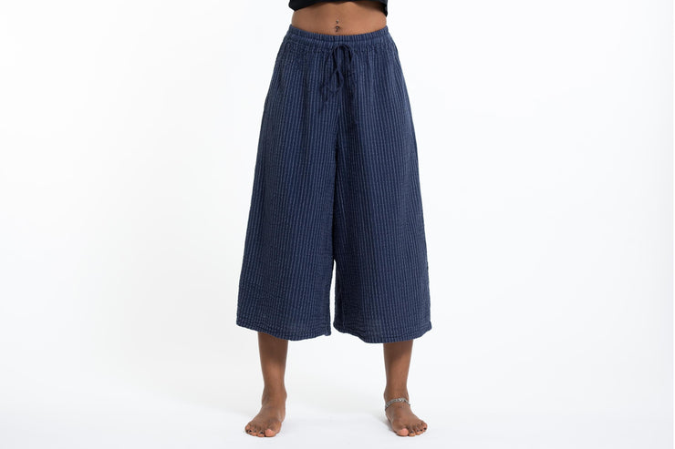 Womens Solid Color Crinkled Cropped Wide Leg Pants in Navy