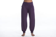 Unisex Solid Color Tie Dye Cotton Harem Pants in Purple
