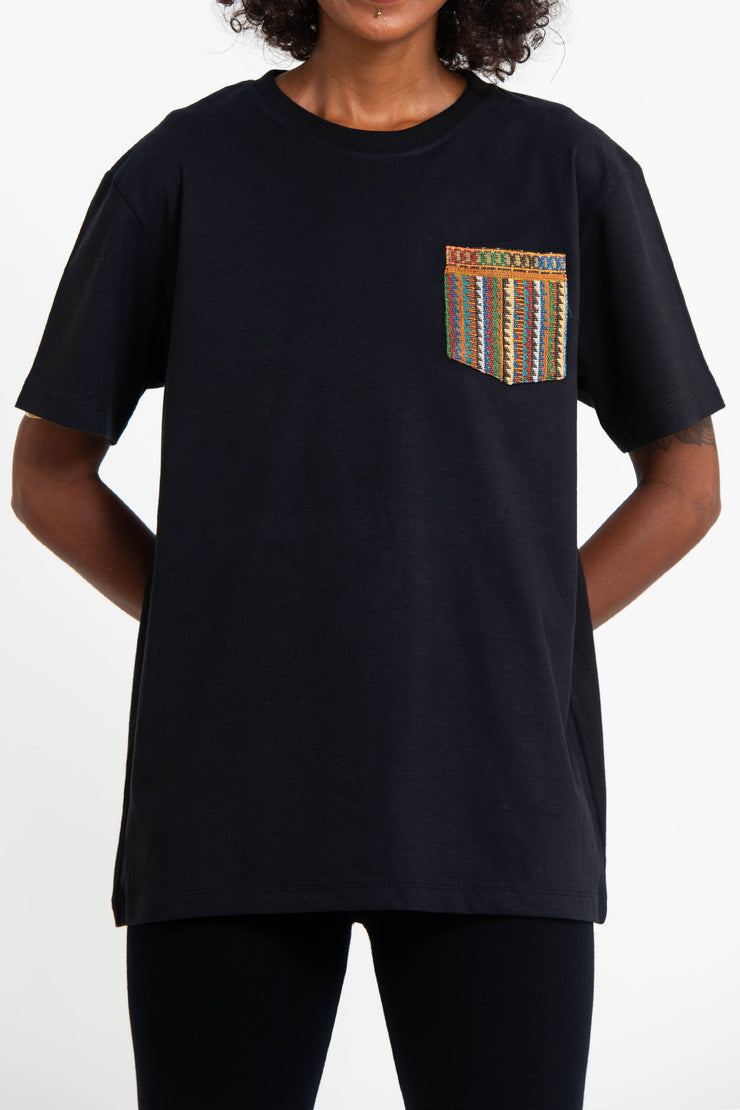 Unisex Cotton T-Shirt with Tribal Pocket in Black
