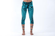 Oval Swirls Tie Dye Capri Leggings in Blue