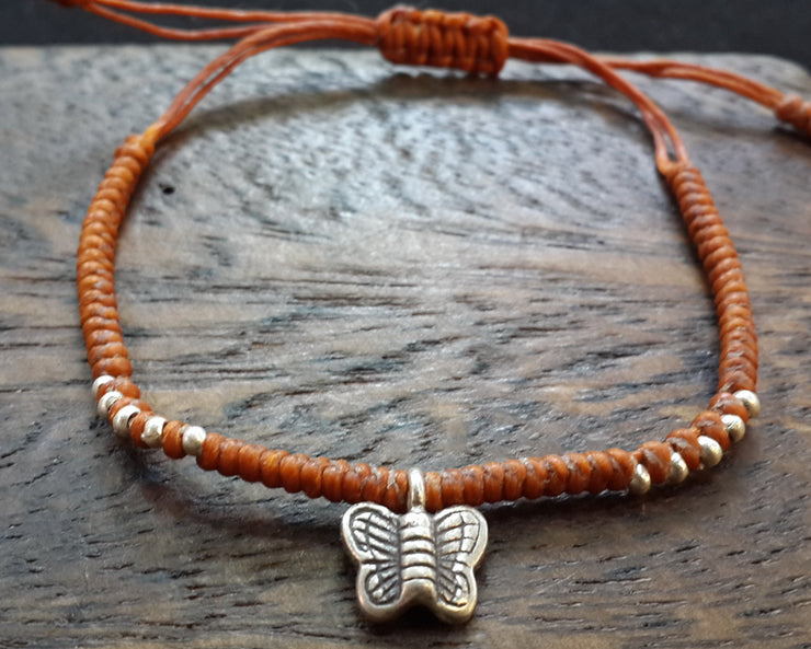 Braided Waxed String Bracelet with Silver Butterfly Charm in Rust
