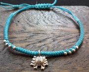 Braided Waxed String Bracelet with Silver Flower Charm in Turquoise