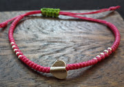 Braided Waxed String Bracelet with Silver Heart Charm in Pink