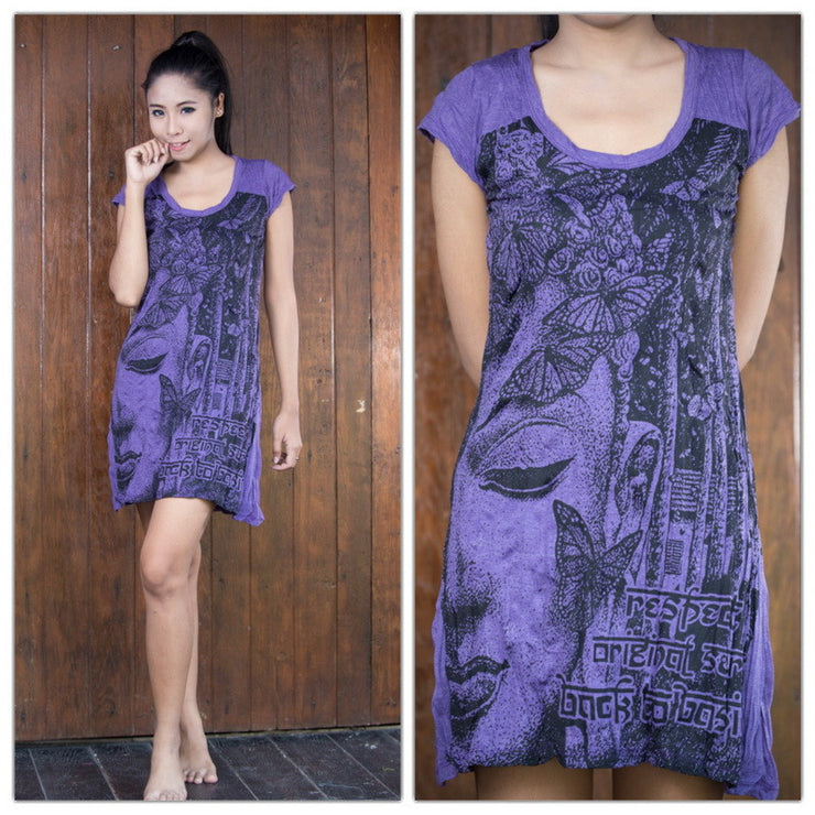 Womens Butterfly Buddha Dress in Purple