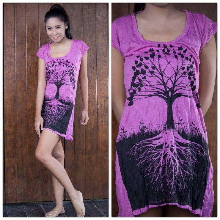 Womens Tree of Life Dress in Pink