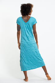 Womens Octopus V Neck Long Dress in Turquoise