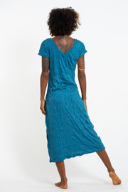 Womens Magic Mushroom V Neck Long Dress in Denim Blue