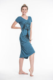 Womens Tree of Life V Neck Long Dress in Denim Blue