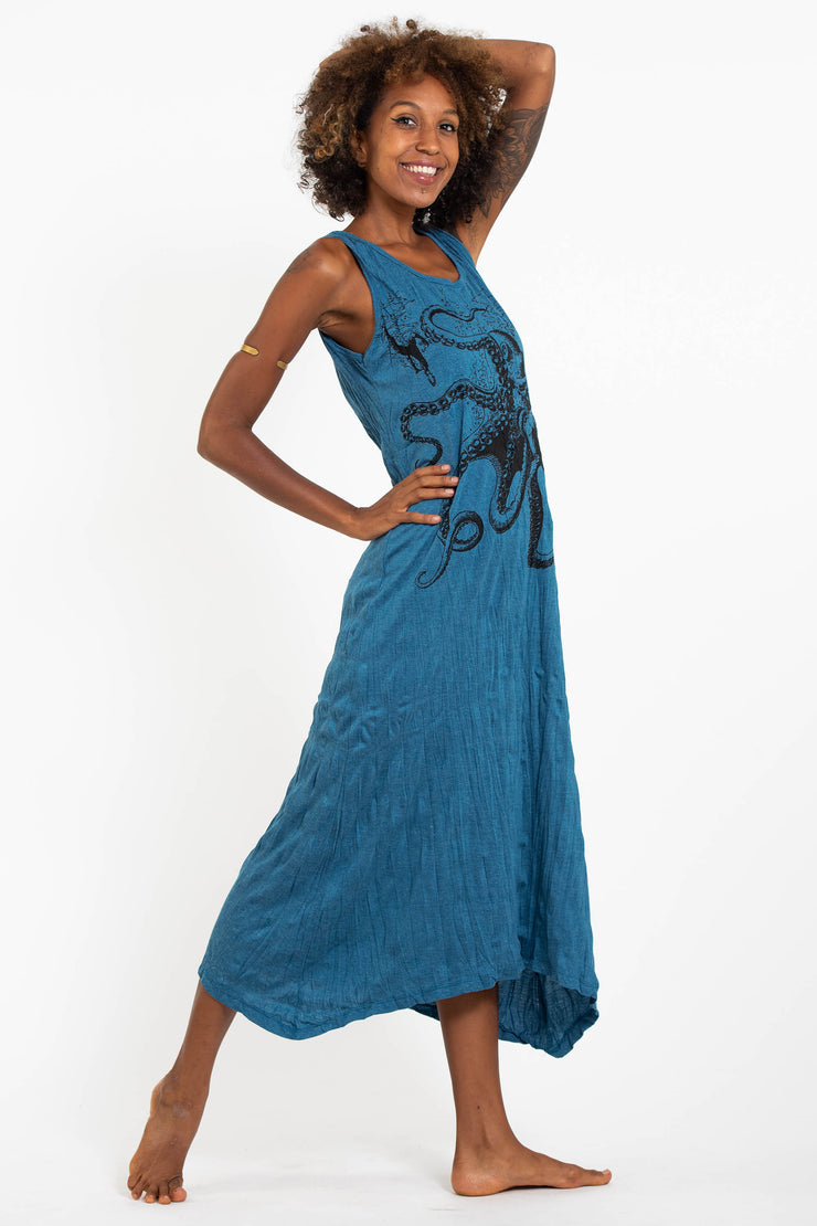 Womens Octopus Long Tank Dress in Denim Blue
