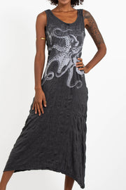 Womens Octopus Long Tank Dress in Silver on Black