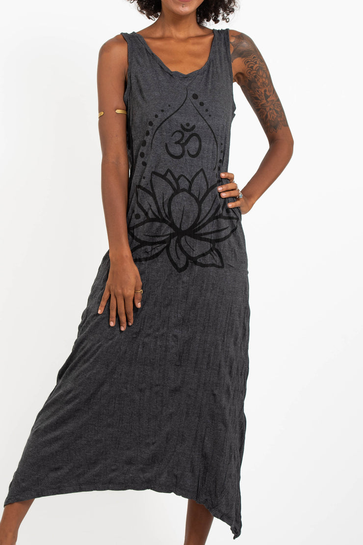 Womens Lotus Om Long Tank Dress in Black
