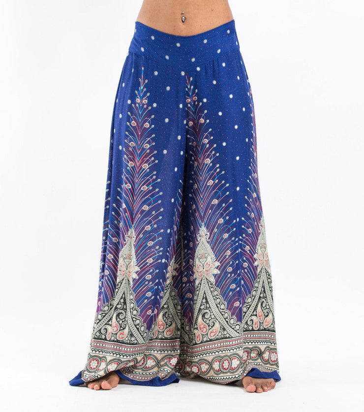 Womens Peacock Feathers Palazzo Pants in Blue