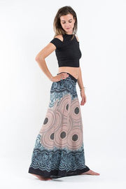 Womens Geometric Mandalas Palazzo Pants in Silver Gray