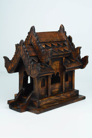 Hand Carved Mini Teak Wood Thai Spirit House