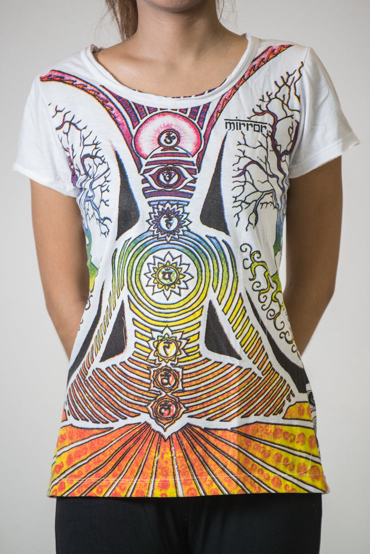 Mirror Sure Design Women's Tshirt Chakra Tree White
