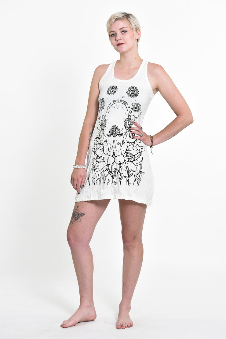 Womens Octopus Chakras Tank Dress in White