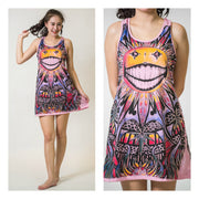 Sure Mirror Design Womens Happy Weed  Tank Dress Pink