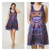 Sure Mirror Design Womens Happy Weed  Tank Dress Violet