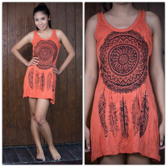 Womens Dreamcatcher Tank Dress in Orange