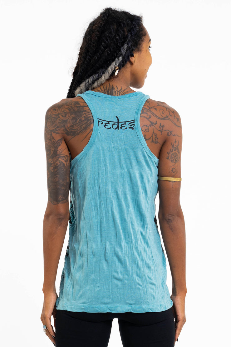 Womens Happy Dog Tank Top in Turquoise