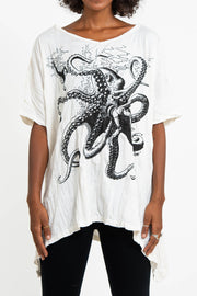 Womens Octopus Loose V Neck T-Shirt in White