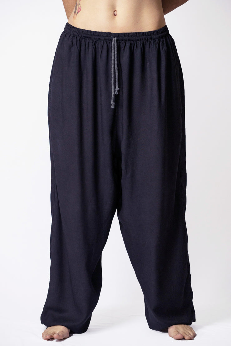 Unisex Solid Color Drawstring Pants in Black
