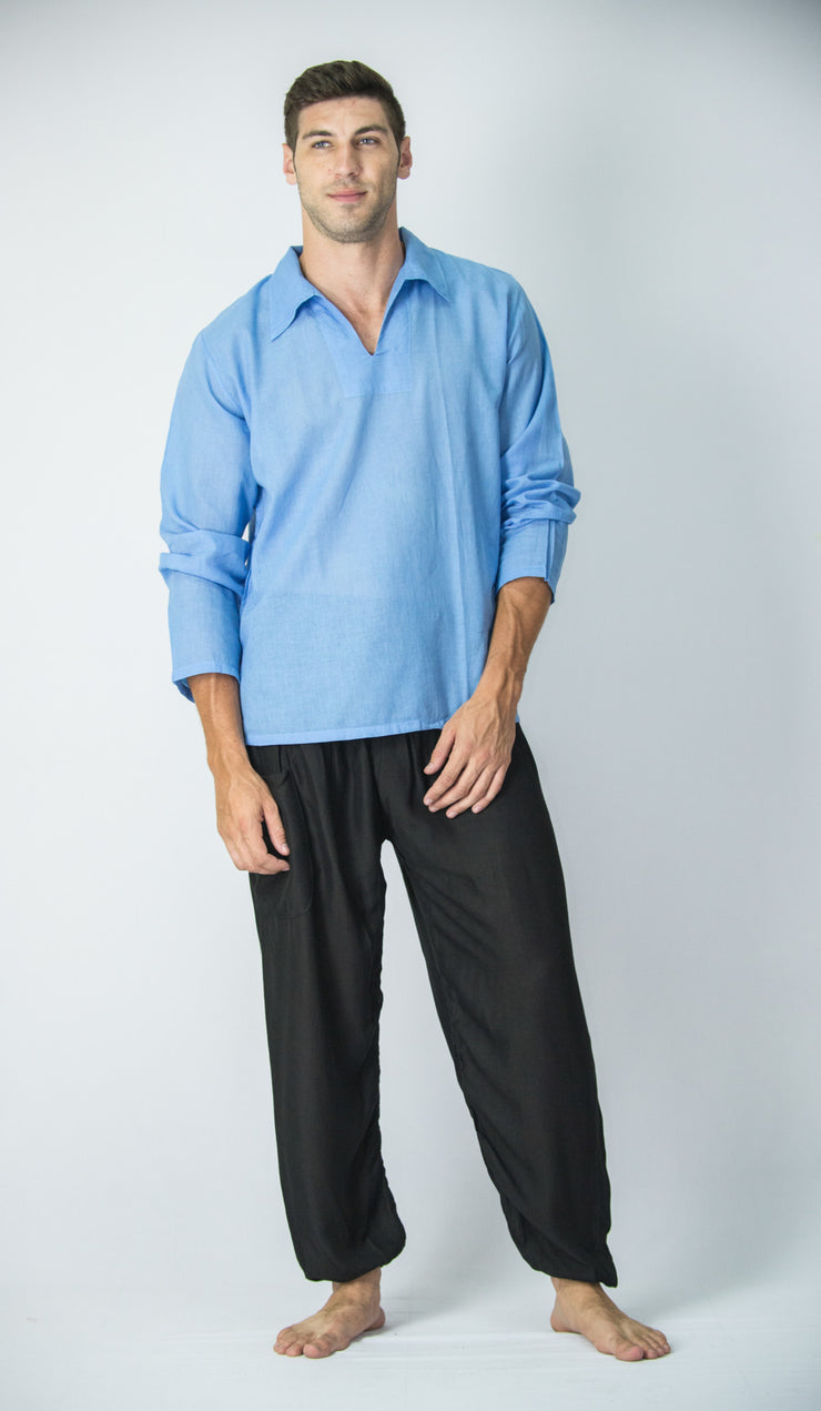 Mens V Neck Collar Yoga Shirt in Blue