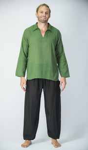 Mens V Neck Collar Yoga Shirt in Olive