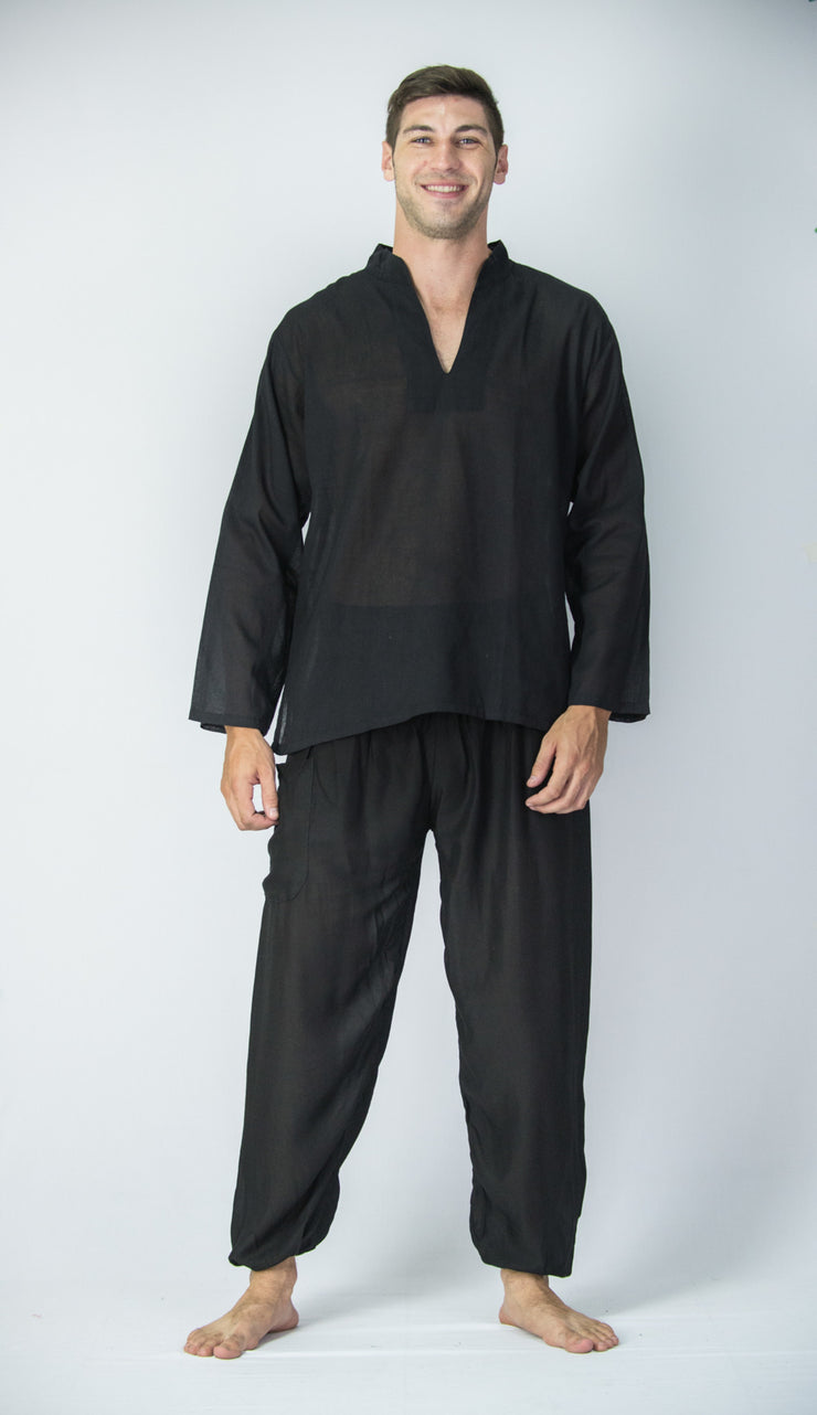 Mens V Neck Band Collar Yoga Shirt in Black