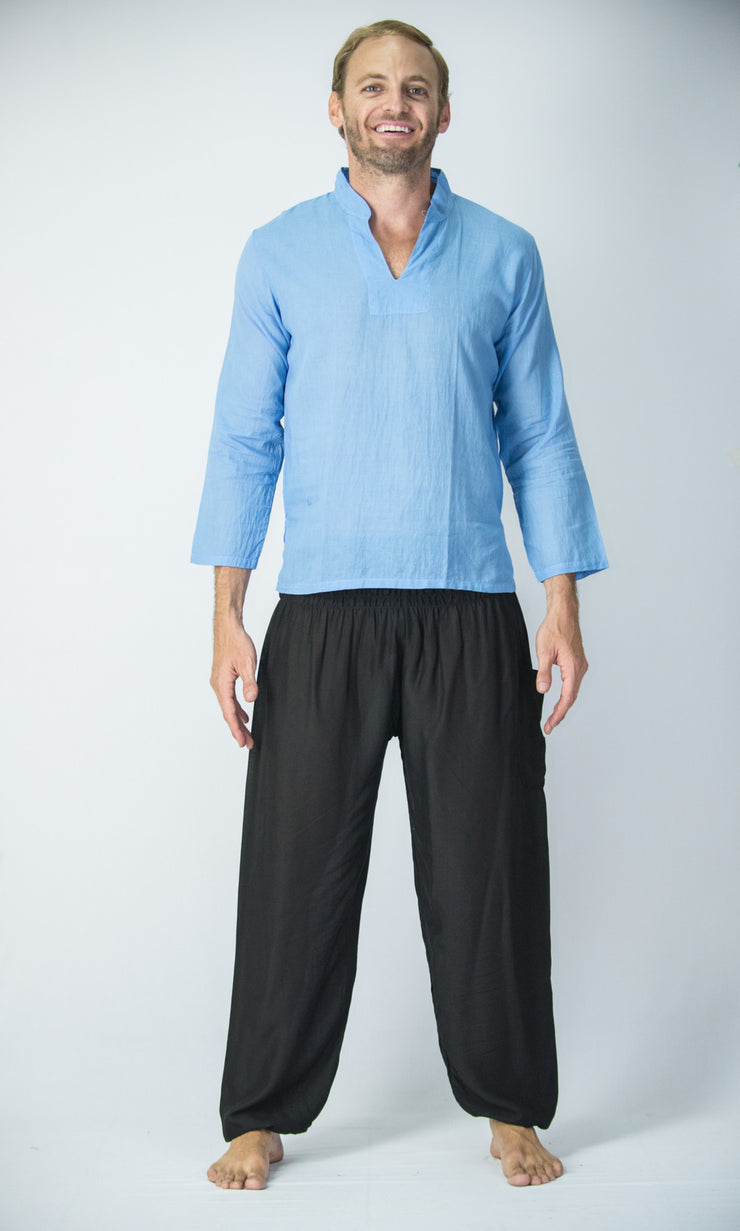 Mens V Neck Band Collar Yoga Shirt in Blue