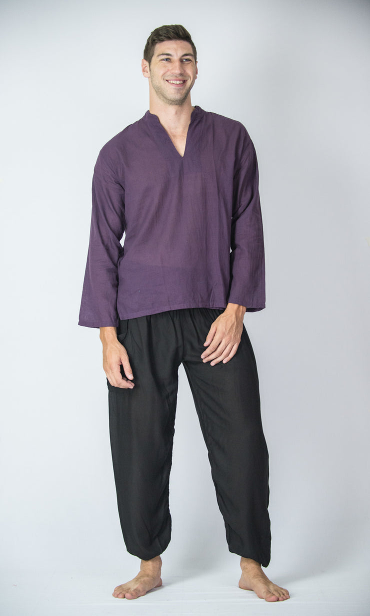 Mens V Neck Band Collar Yoga Shirt in Dark Purple